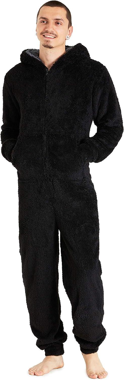CityComfort Pijama Hombre Entero de Una Pieza, Pijama Hombre Invierno de Forro Polar, Pijama Mono con Capucha, Regalos para Hombre y Adolescentes ...