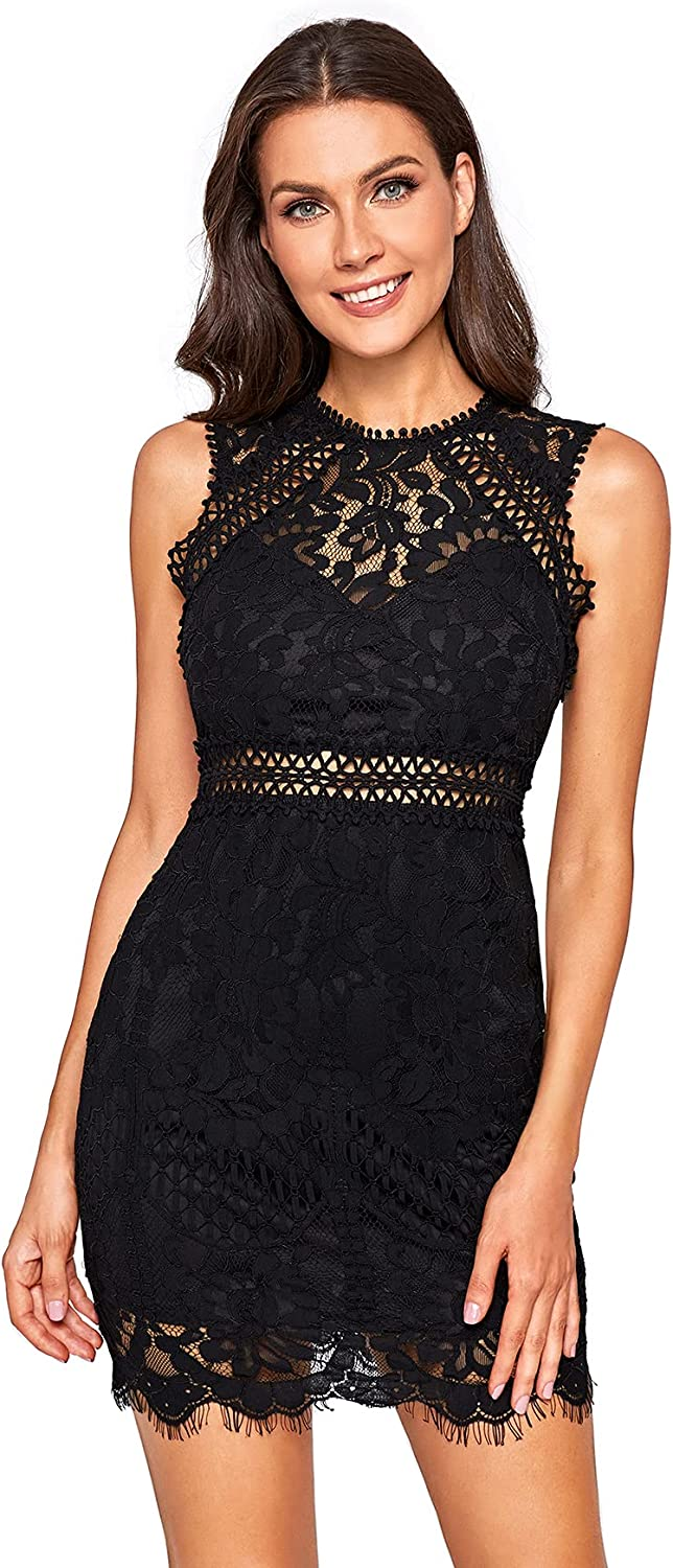 Verdusa Max 50% OFF Women's Sleeveless Indianapolis Mall Scalloped Hem Body Fitted Lace Floral