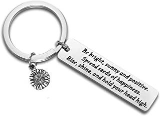 FUSTMW Sunflower Charm Keychain Be Bright Sunny and Positive Sunflower Quote Inspirational Gift