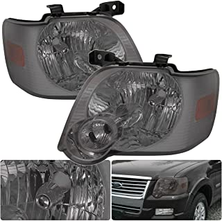 For Ford Explorer Sport Trac Front Driving Smoke Smoked Lens Amber Reflector Headlight Head Lamp Upgrade Replacement