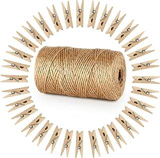ABSOFINE 328 Pieds Ficelle de Jute et 100 pièces Mini en Bois Naturel Craft Pinces à Linge Craft Pinces à Linge Clips pour...