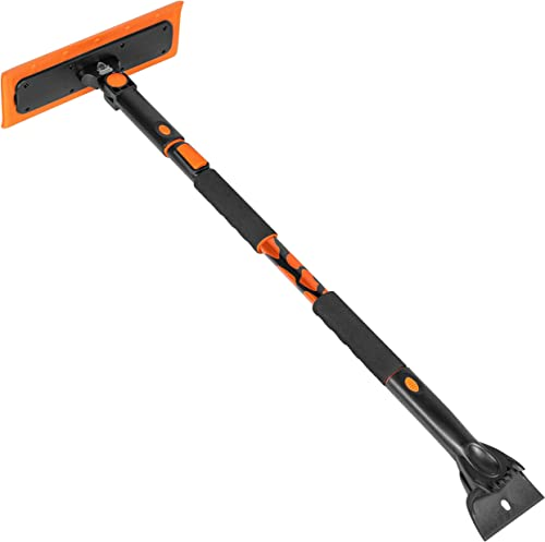 """BIRDROCK HOME Snow MOOver 55"""" Extendable Foam Car Snow Brush and Ice Scraper with Soft Grip - Winter Tool - Auto Wind..."""