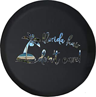 Spare Tire Cover Florida Hair Don't Care Beach Sun Palm Trees fits SUV or RV Accessories Camper Size 28 Inch
