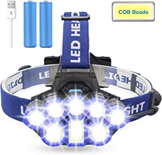 Headlamp Flashlight, Brightest【COB Beam】6 Modes Work Headlamp with Red Strobe Lights, USB Rechargeable Waterproof Headlight Flashlight for Outdoor Camping Cycling Hunting Fishing