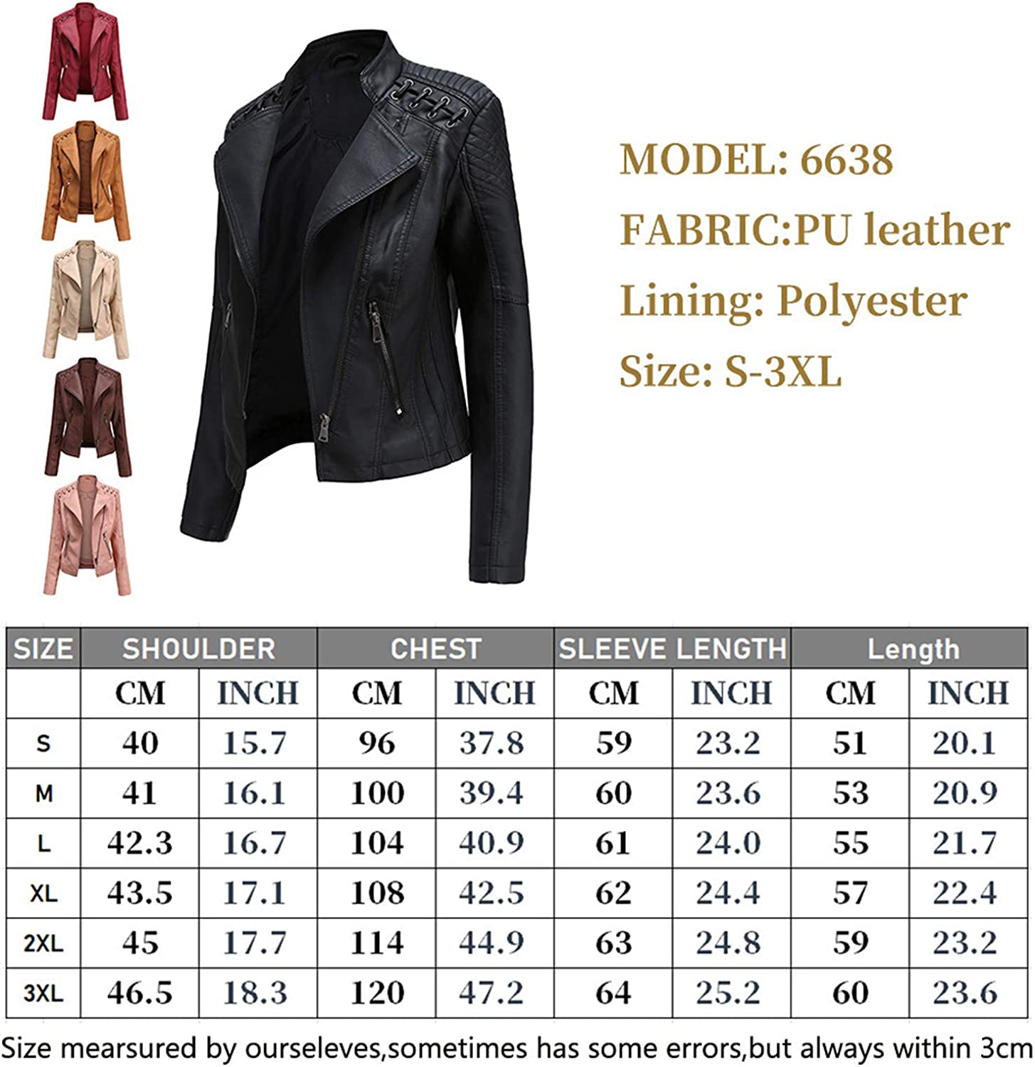 WEIXINMWP Fashion Leather Jacket Women Spring and Autumn Stand Collar Collar Motorcycle Rider Coat pu Jacket Coat high Street Jacket Street Clothing,Red,S