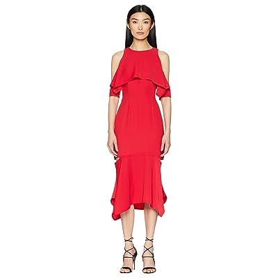 YIGAL AZROUEL Cold Shoulder Cape Sleeve Dress (Cardinal Red) Women