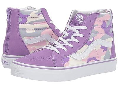 Vans Kids Sk8-Hi Zip (Little Kid/Big Kid) ((Pastel Camo) Fairy Wren/Marshmallow) Girls Shoes