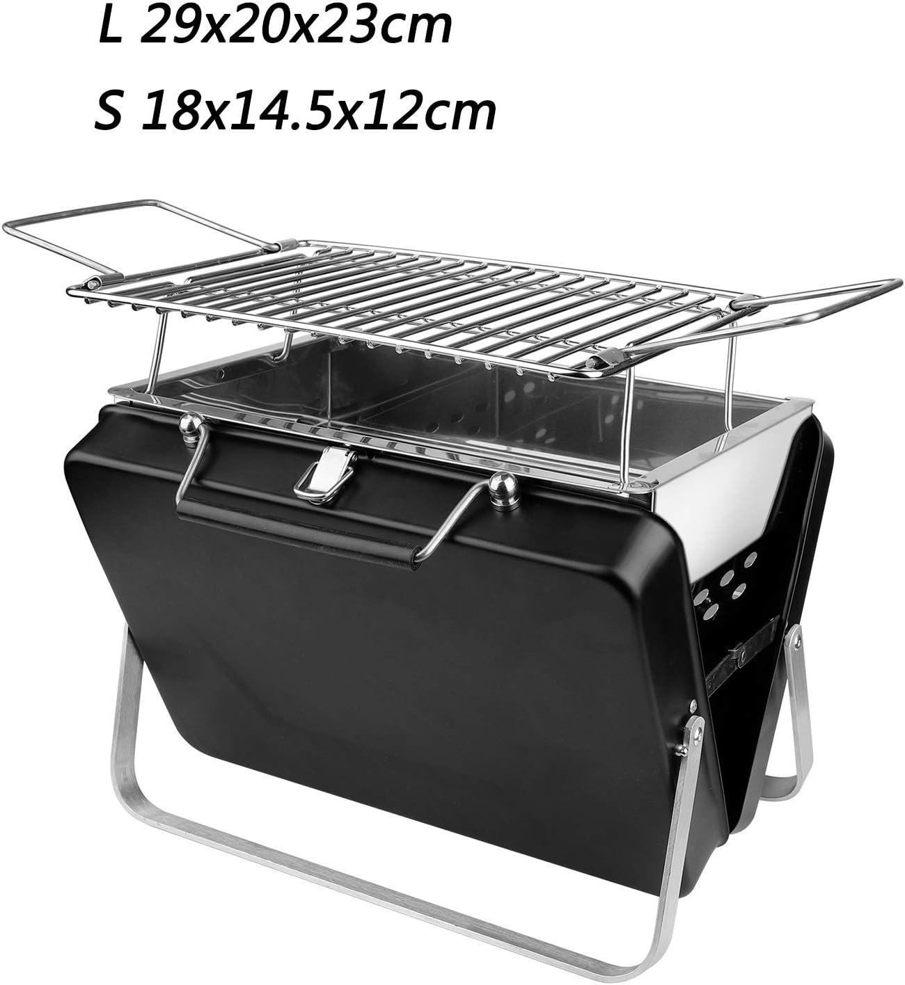 Barbecue portable pliable en acier inoxydable Noir Multicolore