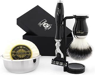 5 sztuk zestaw do golenia dla mężczyzn zawiera czarny pędzel do golenia włosów borsuka, cięcie gardła mydło golarka i misk...