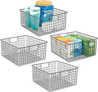 mDesign panier de rangement polyvalent (lot de 4) – boîte en métal pour la cuisine, le garde-manger, etc. – panier en méta...