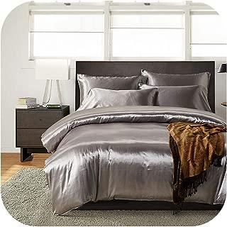 NAVY-SHOP Satin Silk Duvet Cover Set Us UK Size 3Pcs/Set Modern Bedding Grey Oriental Quilt Covers Bed Set,Gray,UK-Single