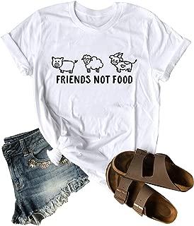 ZJP Women O Neck Friends NOT Food Animals Graphic Print Short Sleeve Tee Shirt