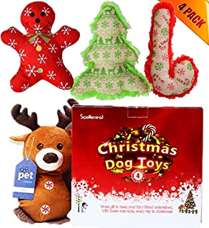 SCENEREAL Christmas Dog Squeaky Plush Toys 4 Pack - Xmas Best Small Cute Pet Puppy Soft Toy Set for Small Dogs Cats