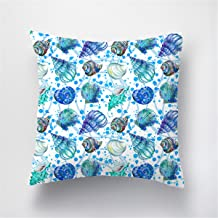 ARIGHTEX Ocean Theme Throw Pillow Covers 18 x 18 Inch Marine Life Square Decorative Pillow Case Cushion Cover Home Decor (Conch & Shell)