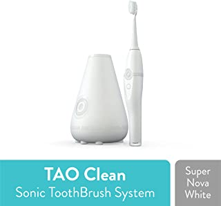 TAO Clean Sonic Toothbrush and Cleaning Station – Super Nova White – Electric Toothbrush with Patented Docking Technology, Ergonomic Handle, Dual Speed Settings