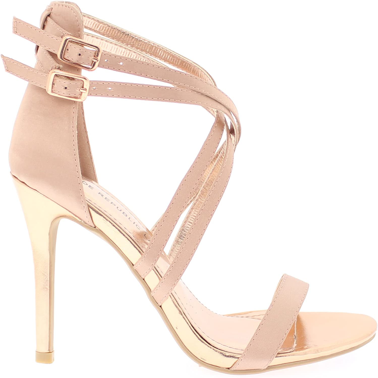 shoes Republic Crisscrossed Straps Open Toe Sandal with Stiletto Heel Chavez