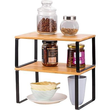 LIANTRAL Lot de 2 étagères pour armoire de cuisine | Organisateur d'étagère de cuisine extensible et empilable pour plan de travail, boîtes à épices