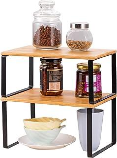 LIANTRAL Lot de 2 étagères pour armoire de cuisine | Organisateur d'étagère de cuisine extensible et empilable pour plan d...