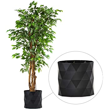 "Deluxe 6 Feet Tall FICUS Silk Leaf Artificial Tree + 8"" Base + 12"" Plant Pot Skirt. 18 Feet of Vine Adorn Wide Real Trunks with Green Leaves Allowing Maintenance Free in-Door and Outdoor Use"