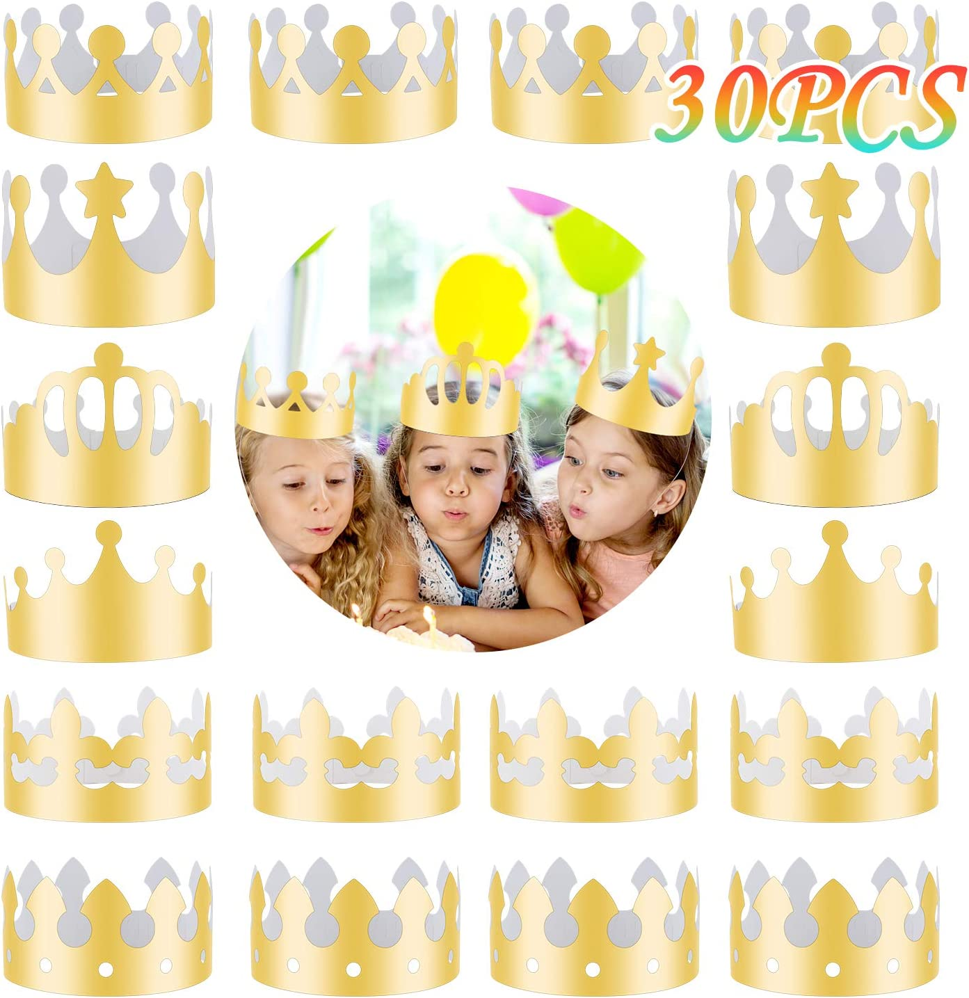 30 Pieces Golden King Crowns 6 OFFicial store Foil Gold Style National products Paper MSDADA