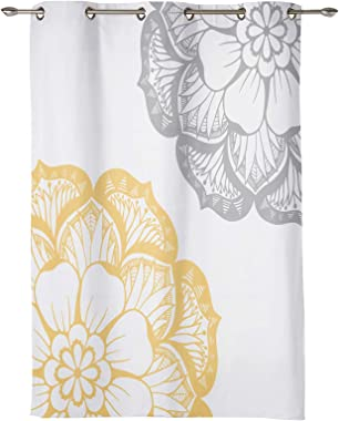Z&L Home Dahlia Sketch Flower Blackout Window Curtains Thermal Insulated Drapes Grey Yellow and White Window Panel Gromme