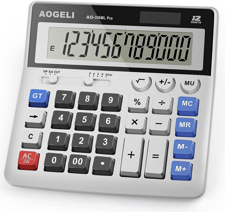 Calculator,Standard Function Desktop Calculators,Basic Financial Calculator Solar Powered Accounting Calculator 12 Digit LCD Display Calculators,Office and Home Calculator