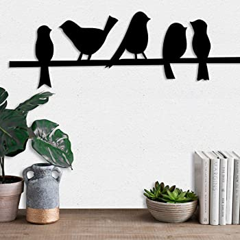 Art Street Bird MDF Wall Plaque Painted Ready to Hang Home Décor Wall Art (6mm Black)