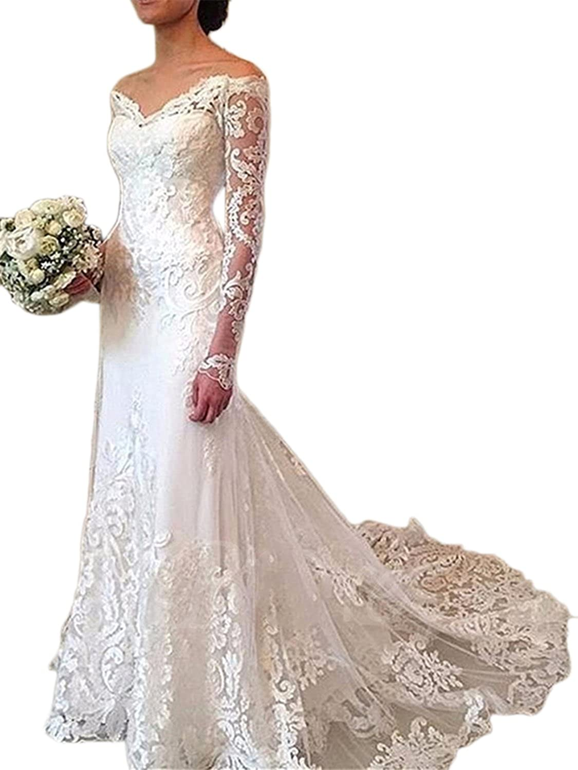 Annxpink Women's Long Sleeve Off The Shoulder Lace Appliques Tulle Mermaid Wedding Dress Bridal Gown
