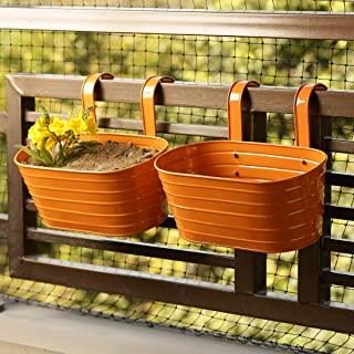 ExclusiveLane 'Glossy Orange' Garden and Balcony Decorative Metal Hanging Railing and Table Flower Planter Pot (Set of 2)