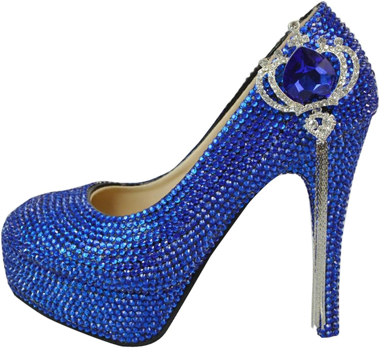TDA Women's Fashion Crown Tassel Wedding Party Stiletto Pumps