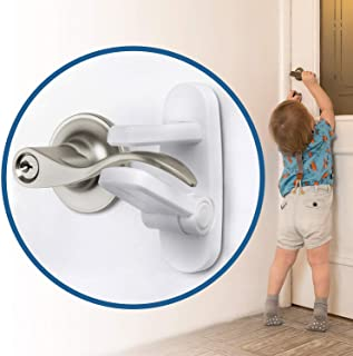 Improved Childproof Door Lever Lock (6 Pack) Prevents Toddlers from Opening Doors. Easy One Hand Operation for Adults. Dur...
