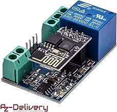 AZDelivery ESP8266-01S ESP-01 modulo WiFi con adaptador de rele para Arduino con eBook incluido