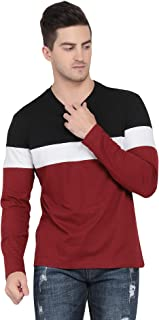 Pinaken Men's Full Sleeve Round Neck Regular Fit Cotton T-Shirt (Black, White and Maroon)