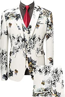 Mens 3 Piece Floral Printed Suits Slim Fit Stylish Prom Tuxedos