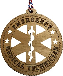 Jolette Designs EMT Paramedics Christmas Ornament - EMS Wooden Tree Gifts and Decor for Men, Women, Firehouse, Ambulance, Graduation. 3.25X3.25 Emergency Medical Technician, Made in USA, Hanging Cord