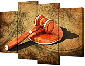 VVOVV Wall Decor Law Office Decor Legal Hammer of Justice Art Print on Vintage World Map Background Retro Canvas Artwork Law Firm Office Decor Law School Student Gifts Ready to Hang 4 Panels