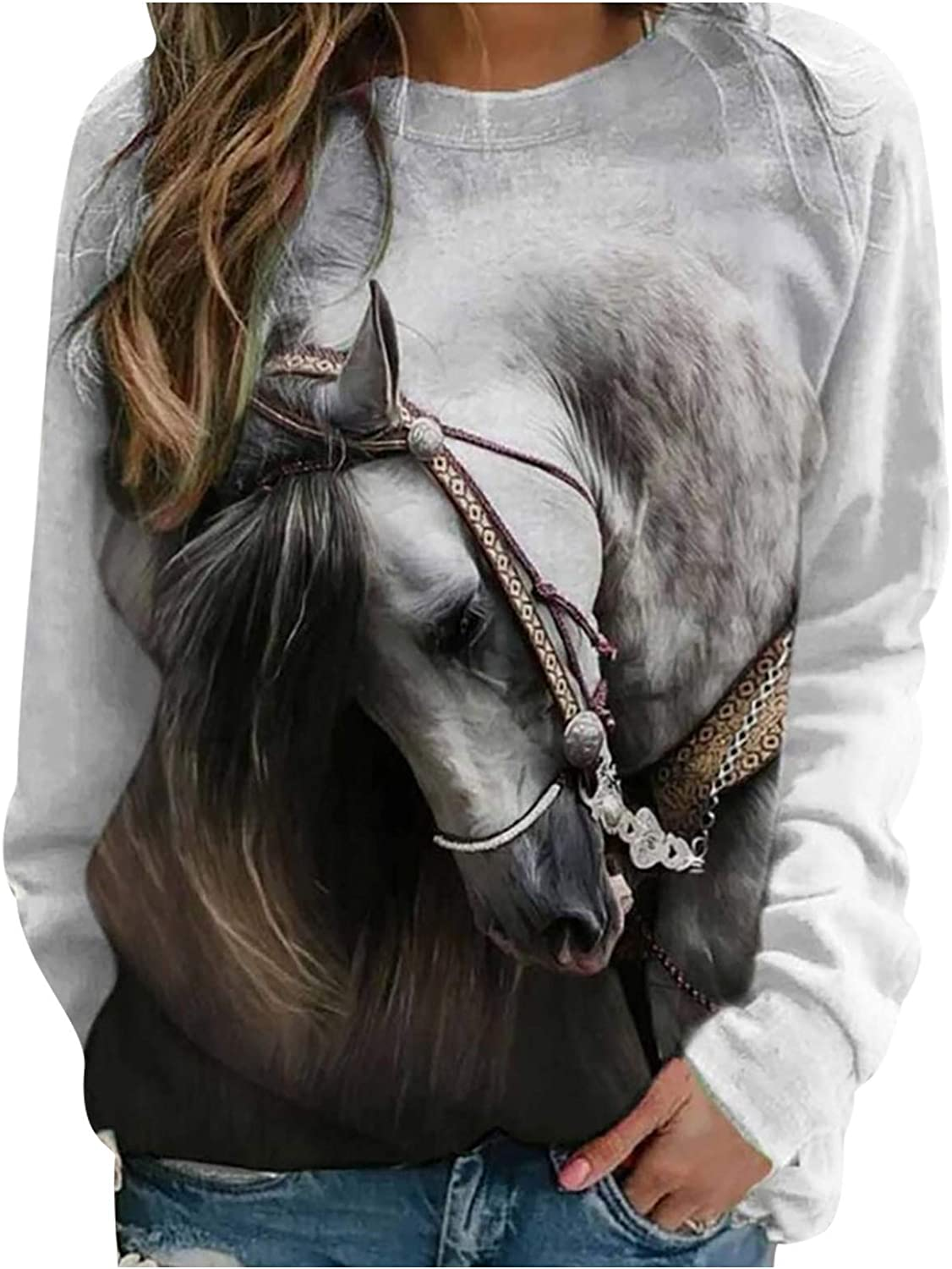 Sweatshirts for Women Oil Painting Horse Printed Pullover Tops Long Sleeve O-Neck Casual Loose Jumper Shirts Winter