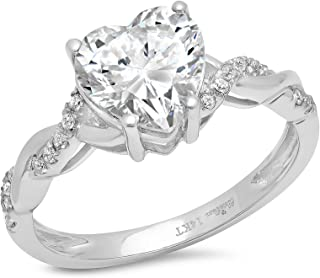 2.09 CT Heart Cut Criss Cross Anniversary Promise Twisted Wedding Engagement Bridal Ring Band 14k White