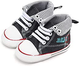 NUWFOR Newborn Toddler Baby Girls Boys Canvas Anti-Slip First Walkers Soft Sole Shoes(Black,0-6 Months)