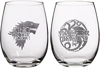 Game of Thrones Collectible Wine Glass Set (Mother of Dragons/King In The North)