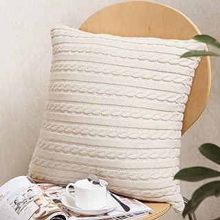 Pillow Covers 18x18 Knitting Fashion Throw Pillow Cases Cafe Sofa Cushion Cover Home Decor, Cambric Knit Pillowcase in Beige, Throw Pillows for Sleeping,Throw, Farmhouse Decorative Pillow Case