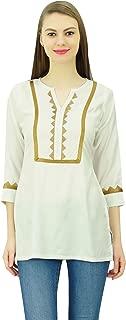 Phagun Women's Lace Short Tunic Elegant 3/4 Sleeves Top Rayon Casual Blouse