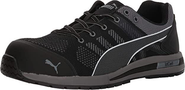 PUMA Safety Elevate Knit Black Low ASTM SD Safety Shoes Safety Toe Metal Free Fiberglass Toe Cap Slip Resistant Men