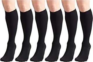 Short Length 20-30 mmHg Compression Stockings for Men and Women, Reduced Length, Closed Toe Black X-Large (6 Pairs)