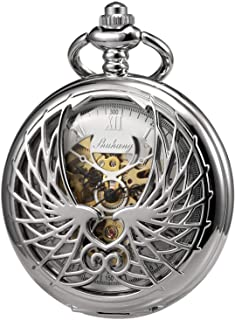 TREEWETO Men's Women's Pocket Watch Mechanical Skeleton Eagle Wings Double Hollow Case Roman Numeral with Chain Gift Box