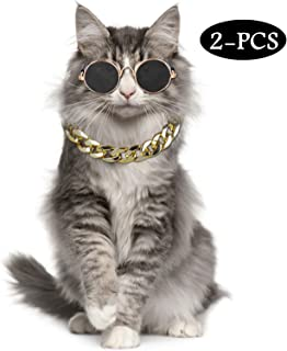 Legendog Cat Costume Dog Collar and Pet Sunglasses for Cats and Small Dogs Fashion Cat Dog Sunglasses Cool Adjustable Dog Gold Chain Set Best Pet Photo Props
