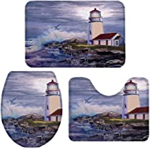 Vandarllin Vintage Lighthouse Beach Painting 3 Piece Plush Bathroom Rugs Set Non Slip Water Absorbent Tub Shower Mats -Bat...