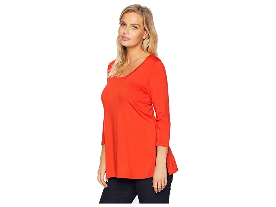 Karen Kane 3/4 Sleeve Side-Slit Top (Saffron) Women