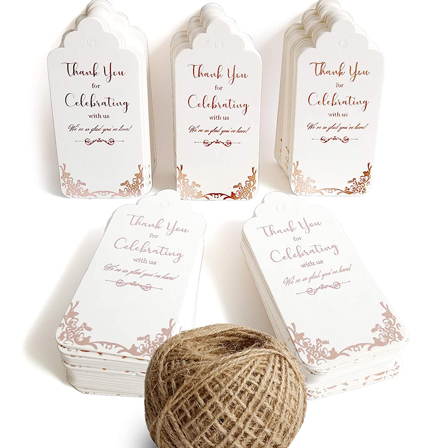 100 Glitter Rose Gold Paper Gift Tags with String(Extra Long 328Feet Natural Jute Twine),Thank You Tags for Wedding Favors,Bridal Shower,Baby Shower Girl,Birthday,Graduation,Wine Bottle,Presents,Party