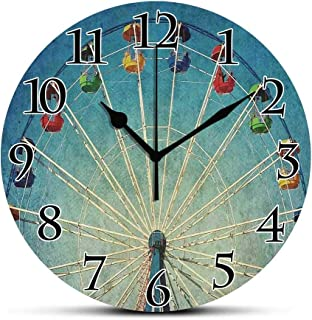 BCWAYGOD Silent Wall Clock,Vintage,Giant Vertical Revolving Ferris Wheel Activity Up Antique Entertainment Old Days Picture,Blue Non Ticking Wall Clock/Desk Clock for Office Home Decor 9.5 inch